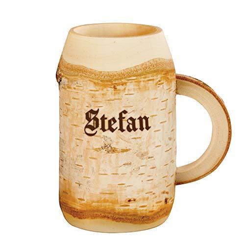 Birken-Holz Bierkrug mit Gravur 0,4l - Bierhumpen mit Name für Bierliebhaber